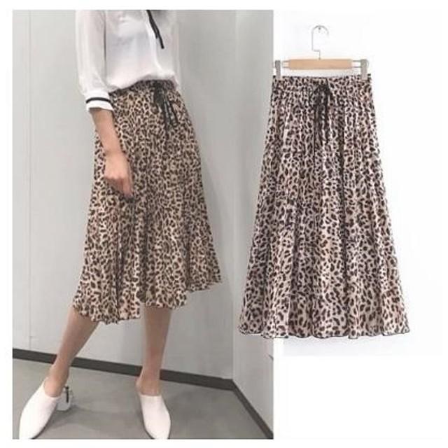 レオパード プリーツスカート ロングスカート ZARA GU レオパード柄 ヒョウ柄 スカート ミモレ丈 フレア 大きいサイズ