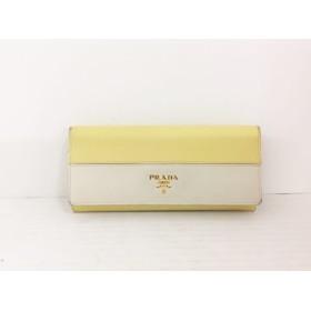 【中古】 プラダ PRADA 長財布 - 1M1132 イエロー アイボリー レザー