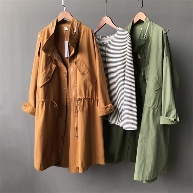 新作レディースコート トップス シンプル キレイ目♪ブラウン/グリーン2色