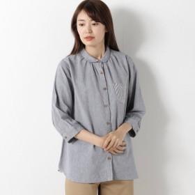 シャツ ブラウス レディース シルケット加工でしなやかな肌触りコットンダンガリーシャツ 「ブルー」