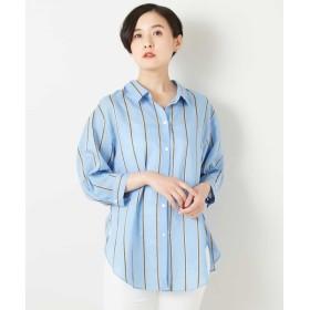 [マルイ]【セール】七分丈ストライプシャツ/ジョルジュ・レッシュ(GEORGES RECH)