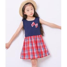 チェックドッキングワンピース(女の子 子供服)ポケット付 ワンピース