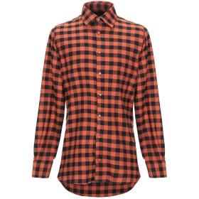 《9/20まで! 限定セール開催中》ATTITUDE. メンズ シャツ 赤茶色 M コットン 100%