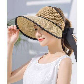 帽子 折りたたみ UV 紫外線 UVカット 首 ガード リボン 大きいサイズ 大きい ストローハット レディース 春 夏 折りたためる ぼうし つば広 ハット アウトドア おしゃれ