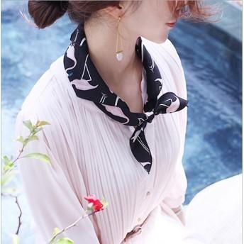 ストール スカーフ レオパード柄 フラミンゴ 薄手 4way ボウタイ 韓国ファッション