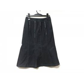 【中古】 レリアン Leilian ロングスカート サイズ9 M レディース ネイビー ラインストーン