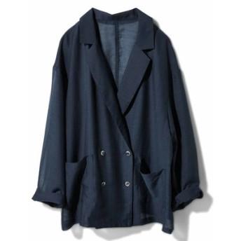 軽やかシアーシャツジャケット〈ネイビー〉 IEDIT[イディット] フェリシモ FELISSIMO【送料無料】