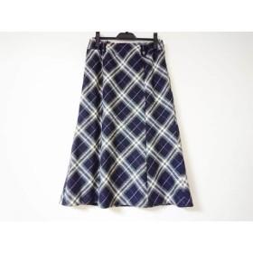 【中古】 バーバリーロンドン スカート サイズ13 L レディース 黒 アイボリー マルチ チェック柄