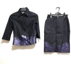 【中古】 ボッシュ スカートスーツ サイズS レディース ネイビー パープル マルチ デニム/花柄/ラメ