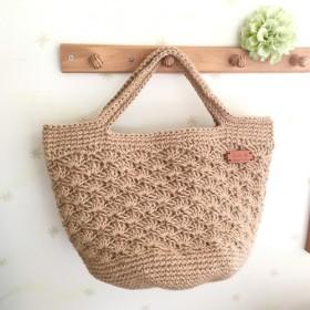 ○○受注製作○○ 松編み麻かごbag 大サイズ ナチュラル