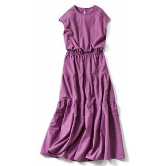 ティアードデザインの大人サマードレス〈ピンクパープル〉 IEDIT[イディット] フェリシモ FELISSIMO【送料無料】