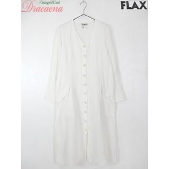 古着 レディース ワンピース FLAX フラックス リネン 白 ノーカラー シンプル 無地 ナチュラル 猫目ボタン ロング Aライン ドレス 古着