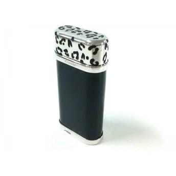 【中古】 カルティエ Cartier ライター 黒 シルバー 豹柄/着火確認できず 金属素材