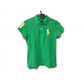 【中古】 ラルフローレン 半袖ポロシャツ サイズM レディース ビッグポニー グリーン イエロー
