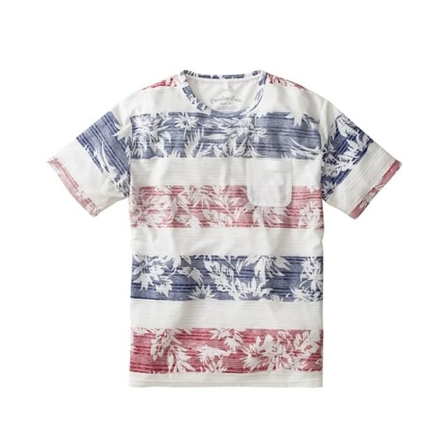 ポケット付き裏ボーダープリント半袖Tシャツ Tシャツ・カットソー