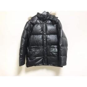 【中古】 ポールスミス PaulSmith ダウンジャケット サイズL メンズ 黒 レザー/冬物