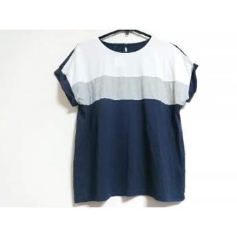 【中古】 レリアン Leilian 半袖Tシャツ サイズ13+ S レディース 白 グレー ネイビー
