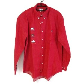 【中古】 シナコバ 長袖シャツ サイズL メンズ 美品 レッド グリーン マルチ LUPO DI MARE/刺繍