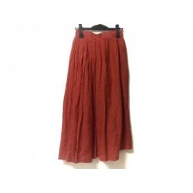 【中古】 スキャパ Scapa ロングスカート サイズ36 M レディース 美品 レッド プリーツ