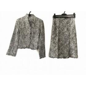 エムズグレイシー M'S GRACY スカートスーツ サイズ38 M レディース 美品 グレー×ライトグレー×黒 フリンジ【中古】