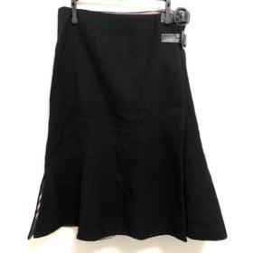【中古】 バーバリーブルーレーベル Burberry Blue Label 巻きスカート サイズ38 M レディース 黒