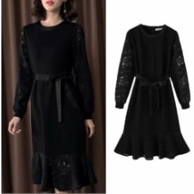 ロングドレス パーティードレス 結婚式 二次会 お呼ばれ 袖あり ワンピース ドレス 20代 30代 40代 ブラックドレス 大きいサイズ