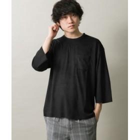 (ITEMS URBANRESEARCH/アイテムズ アーバンリサーチ)フェイクスエード7分袖Tシャツ/メンズ BLK