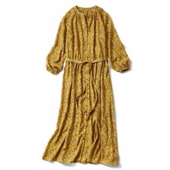 大人フラワープリントのロングシャツドレス〈マスタードイエロー〉 IEDIT[イディット] フェリシモ FELISSIMO【送料無料】