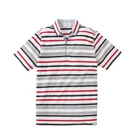 ジャガードボーダースキッパー半袖ポロシャツ ポロシャツ