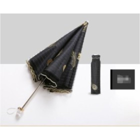 女性日傘日焼け止めウルトラライトUVレース刺繍入り黒ゴム傘