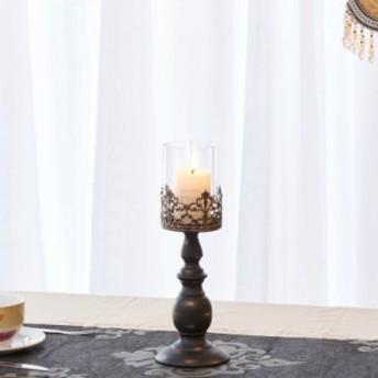 【お取り寄せ】キャンドルホルダー ヨーロピアンアンティーク風 ガラスのホルダー アイアン製 (ブラック, 小サイズ)