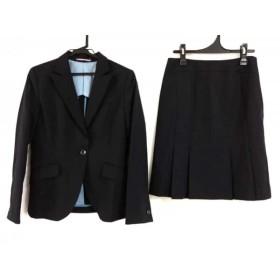 【中古】 レミュー LES MUES スカートスーツ サイズM レディース ダークネイビー グレー ストライプ