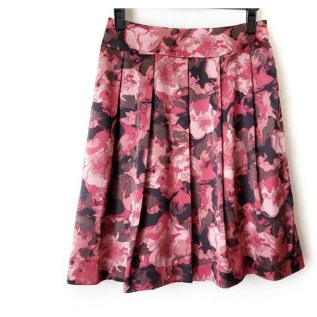 【中古】 オースチンリード スカート サイズ38 L レディース ピンク ブラウン 黒 プリーツ/花柄
