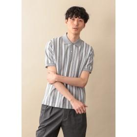 MACKINTOSH PHILOSOPHY 【WEB限定】サーフニットストライプ MPポロシャツ ポロシャツ,チャコールグレー
