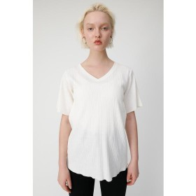 【50%OFF】 マウジー V NECK FLARE RIB Tシャツ レディース O/WHT1 FREE 【MOUSSY】 【セール開催中】