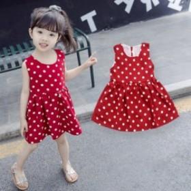 夏の女の子、小さな子供たち、赤いドットシフォンドレスの韓国かわいい野生のノースリーブの子供のスカート