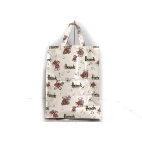 【中古】 ハロッズ トートバッグ 美品 ピンク グリーン マルチ クマ/ドット柄 コーティングキャンバス