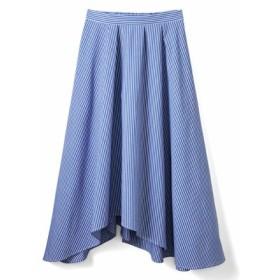 ストライプイレギュラーヘムスカート〈ブルー〉 IEDIT[イディット] フェリシモ FELISSIMO【送料無料】