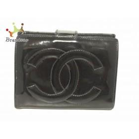 5bcfa3af2013 シャネル CHANEL 2つ折り財布 - 黒 がま口/ココマーク エナメル(レザー) 新着