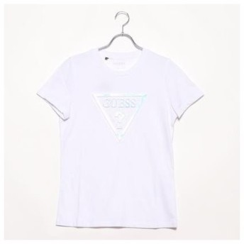 ゲス GUESS EMBOSSED HOLOGRAM TRIANGLE LOGO TEE (WHITE)