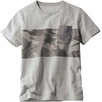 50%OFF【メンズ】 汗ジミしにくい!ポケット付き迷彩柄プリントTシャツ ■カラー:グレー系 ■サイズ:LL,5L,M,3L,L