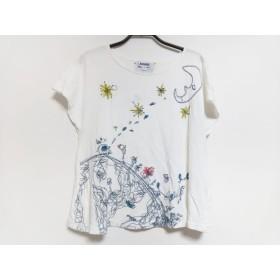 【中古】 ホコモモラ 半袖Tシャツ サイズ40 XL レディース 白 ダークネイビー マルチ 三日月/刺繍
