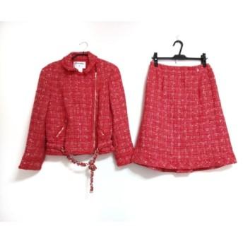 【中古】 シャネル CHANEL スカートスーツ サイズ42 L レディース レッド ライトグレー マルチ