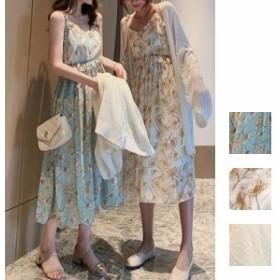 韓国 ファッション レディース セットアップ 夏 春 カジュアル naloE746 シフォン ペプラム ロング ウエストシェイプ キャミワンピ サマ