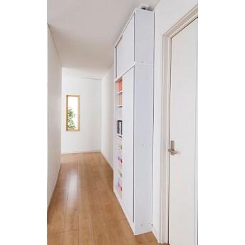 壁面本棚(引き戸式・頑丈棚タイプ) - セシール ■カラー:ホワイト ■サイズ:N(奥行40/上置き幅90)