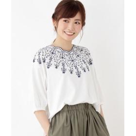 3can4on(Ladies)(サンカンシオン(レディース)) スカラップデコルテ刺繍カットソー