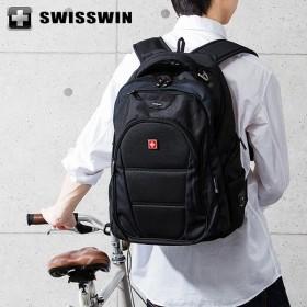SWISSWIN リュック リュックサック ビジネスリュック メンズ SW9207 スイスウィン ブラック 撥水 PC対応 大容量 通勤 出張 旅行
