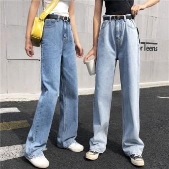 [55555SHOP] ウエストタックハイウエストストレート デニム ワイドデニム パンツ ロングパンツ ハイウエスト ゆったり ウォッシュ ブルー 春物 夏物 おしゃれ 新作 韓国ファッション