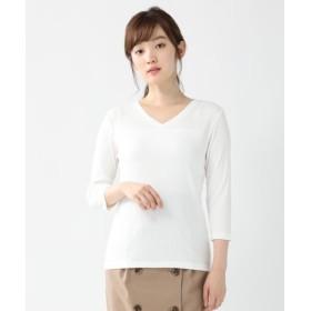(Honeys/ハニーズ)7分袖テレコVネック/レディース オフホワイト