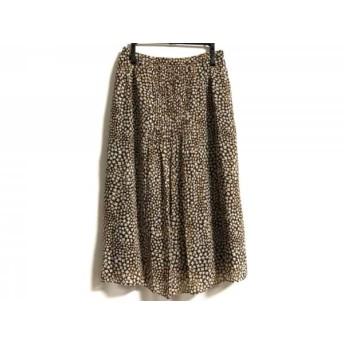 【中古】 レリアン Leilian スカート サイズ9 M レディース ダークブラウン ベージュ オレンジ 花柄